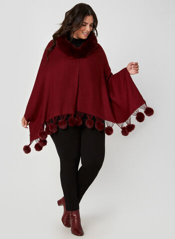 Faux Fur Trimmed Poncho, Red, hi-res,  fall winter 2019, knit, poncho, pashmina