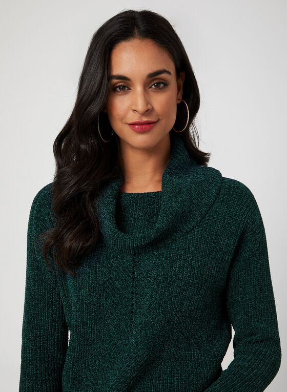 Cowl Neck Chenille Sweater, Green
