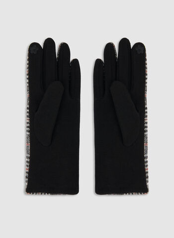 Plaid Print Knit Gloves, Black, hi-res,  gloves, plaid, button, print, comfortable, fall 2019, winter 2019