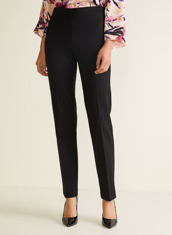 Straight Leg Pull-On Pants, Black,  pants, pull-on, pleats, straight, fall winter 2020