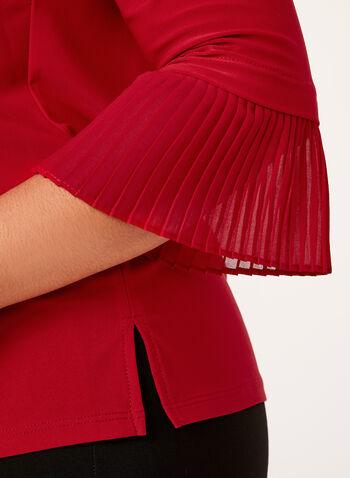 Blouse manches ¾ à poignets plissés , Rouge, hi-res