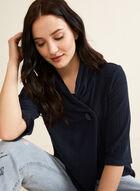Haut en tricot à bouton, Bleu