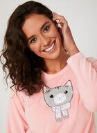 Pillow Talk - Pyjama 2 pièces en polaire motif chat, Gris, hi-res