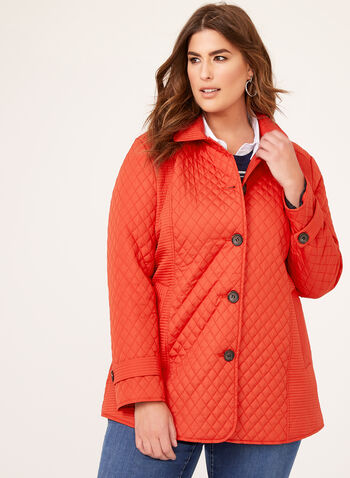 Quilted Water Repellent Spring Coat, Red, hi-res
