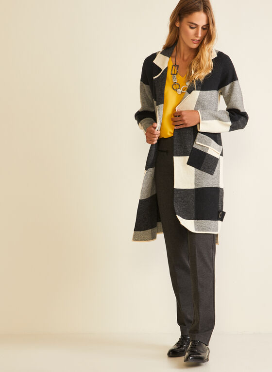 Tartan Print Long Cardigan, Grey