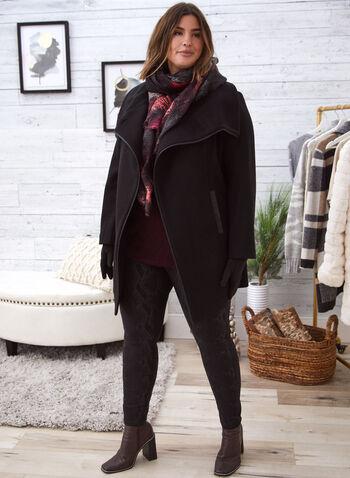 Manteau d'aspect laine extensible, Noir,  vêtement d'extérieur, manteau, aspect laine, fausse laine, extensible, Exclusivité Laura, asymétrique, col rabattu, manches longues, 2 poches, fermeture à bouton, cuir végane, automne hiver 2021