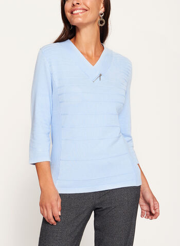 V-Neck Zipper Trim Sweater, , hi-res