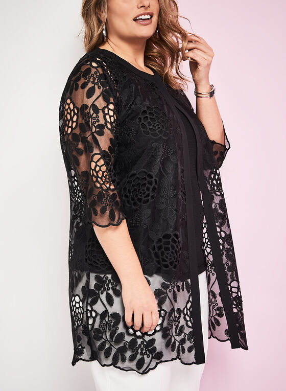 Sheer Embroidered Floral Motif Jacket, Black, hi-res