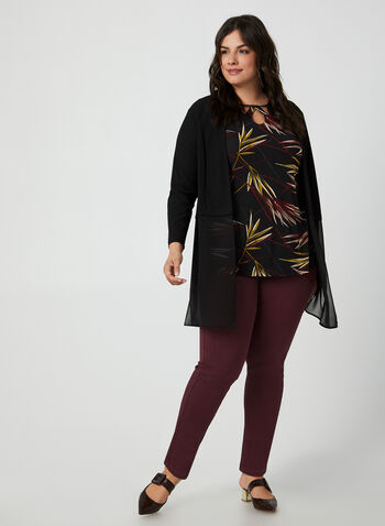 Leaf Print Jersey Top, Red, hi-res,  Canada, top, leaf print, jersey, elbow sleeves, fall 2019, winter 2019
