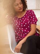 Polka Dot Puffed Sleeve T-Shirt, Purple