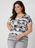 T-shirt à imprimé feuilles de palmier, Noir, hi-res