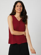 Button Neck Sleeveless Top, Red