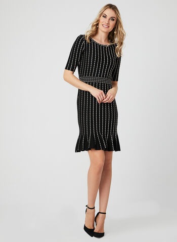 Stripe Print Gored Dress, Black, hi-res