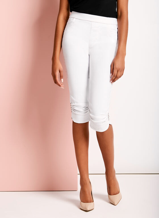 Simon Chang - Ruched & Rhinestone Trim Capris, White, hi-res