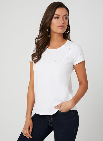 Embroidered T-Shirt, White, hi-res,  short sleeves, spring 2019, cotton
