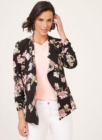 Jules & Leopold - Floral Print ¾ Sleeve Jacket, Black, hi-res