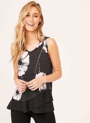 Floral Print & Mini Dot Sleeveless Top  , Black, hi-res