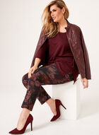 Slim Leg Floral Print Pull-On Pants, Black, hi-res