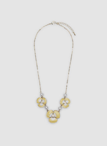 Floral Detail Necklace, Yellow, hi-res