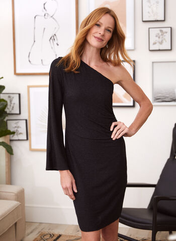 One-Sleeve Cocktail Dress, Black,  dress, evening, cocktail, one sleeve, asymmetric. off the shoulder, metallic, glitter, fall winter 2020