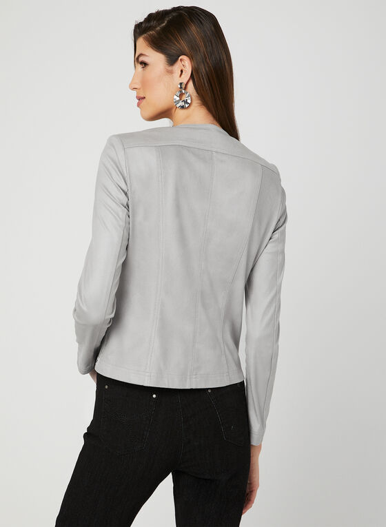Faux Leather Jacket, Grey