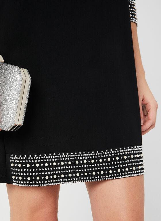 Embellished Jersey Dress, Black