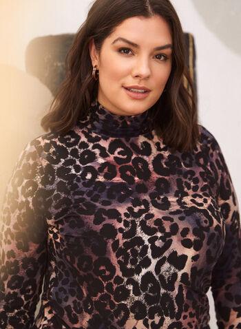 Haut à col roulé à motif léopard, Rouge,  haut, pull, chandail, fait au canada, col roulé, manches longues, motif léopard, automne 2021