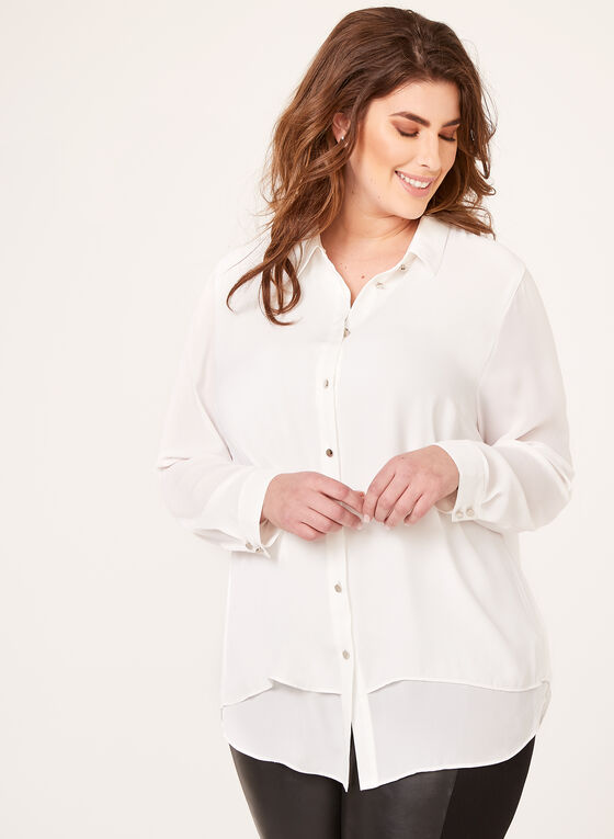 Capelet Back Button Down Blouse, Off White, hi-res