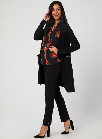 Open Front Knit Cardigan, Black, hi-res,  cardigan, knit, open front, long sleeves, fall 2019, winter 2019