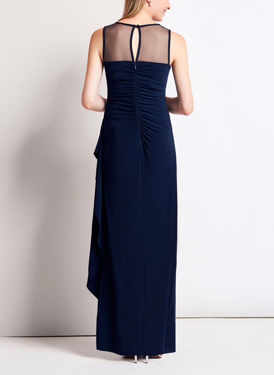 Mesh Yoke Jersey Gown with Shawl, Blue, hi-res
