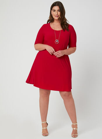 Joseph Ribkoff - A-Line Dress, Red, hi-res