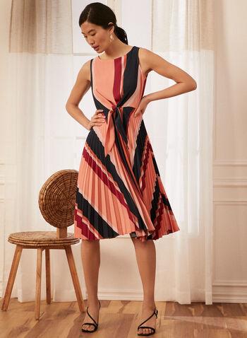 Robe à buste noué rayée , Orange,  robe, courte, court, coloré, rayures, motif, évasé, printemps été 2021, robe de jour