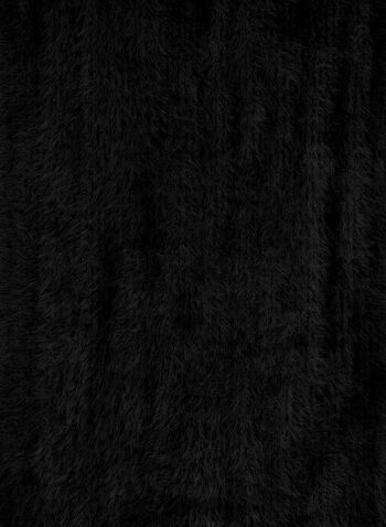 Écharpe poilue à franges, Noir,  écharpe, franges, effet poilu, oblong, automne hiver 2019