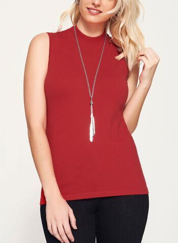 Mock Neck Jersey Knit Top, Red, hi-res