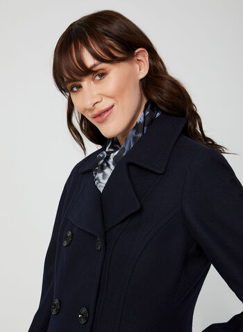 Anne Klein - Medium-Length Wool Coat, Blue, hi-res,  coat, notched collar, long sleeves, discreet pockets, wool-blend, shoulder pads, Anne Klein, fall 2019, winter 2019