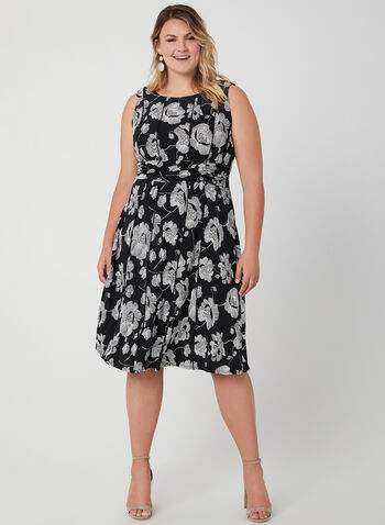 Floral Print Sleeveless Dress, Black, hi-res,  sleeveless, puff print, fall 2019, winter 2019, ruching, draping, jersey