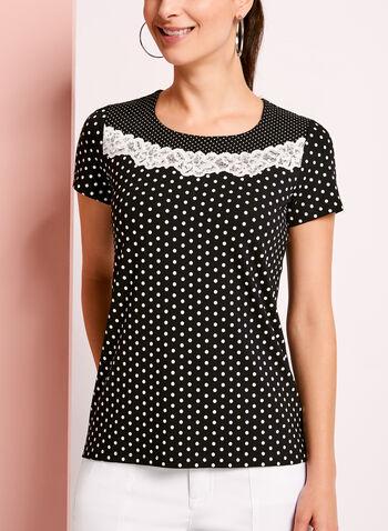 Lace Trim Dot Print T-Shirt, , hi-res