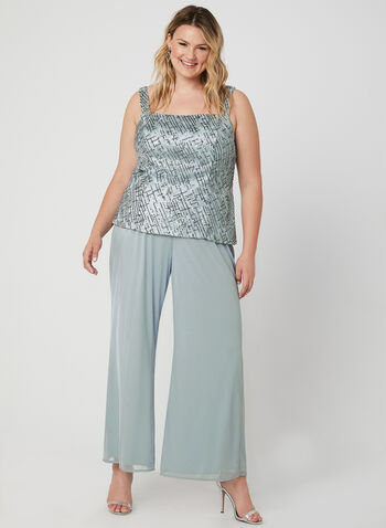 Sequin & Mesh Pantsuit, Silver, hi-res,  Fall 2019, Winter 2019, mesh, sequins, evening, occasion