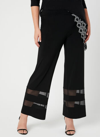 Joseph Ribkoff - Pantalon à jambe large et maille filet, Noir,  pantalon, jambe large, jersey, maille filet, coupe moderne, printemps 2019