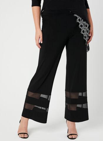 Joseph Ribkoff - Modern Fit Pants, Black, hi-res,  Canada, Joseph Ribkoff, Modern Fit, mesh inserts, wide leg, spring 2019