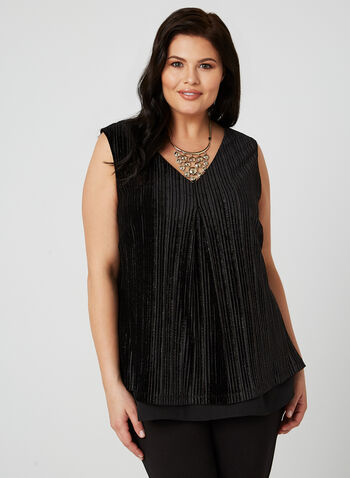 Frank Lyman - Metallic Sleeveless Blouse, Black, hi-res