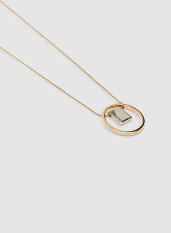 Hoop Pendant Necklace, Yellow, hi-res