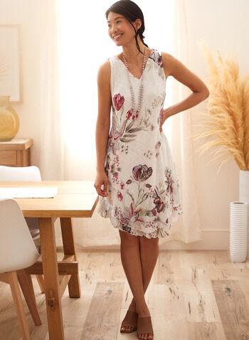 Charlie B - Cotton Gauze Ruffle Dress, White,  spring summer 2021, v neck, no sleeves, ruffles, diagonal