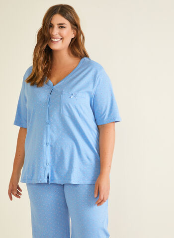 2-Piece Printed Pyjama Set, Blue,  pyjama, set, 2-piece, diamond, buttons, capris, fall winter 2020