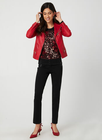 Vex - Leopard Print Top, Red, hi-res,  top, faux leather, animal print, leopard print, fall 2019, winter 2019