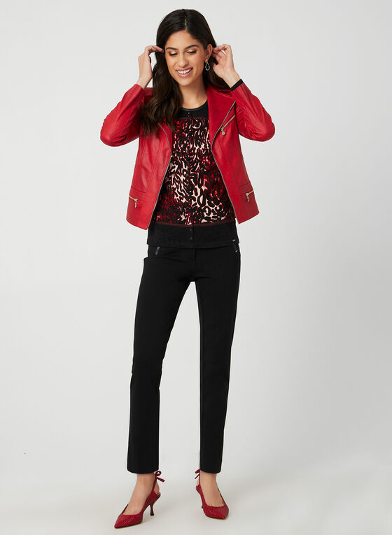 Faux Cardigan Knit Sweater, Red, hi-res