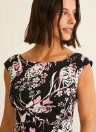 Robe fleurie texturée en jersey, Noir
