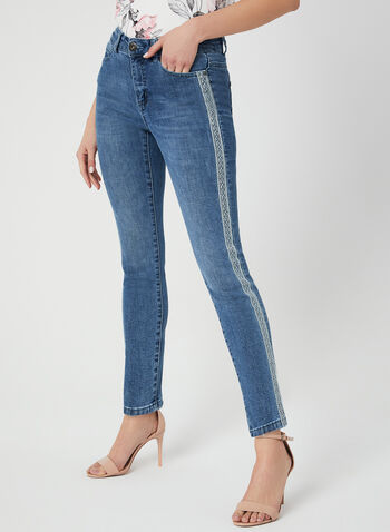 Modern Fit Slim Leg Jeans, Blue,  embroidered, ankle, spring 2019