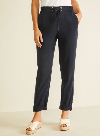 Pantalon coupe moderne en tencel, Bleu,  pantalon, moderne, pull-on, tencel, ceinture, printemps été 2020