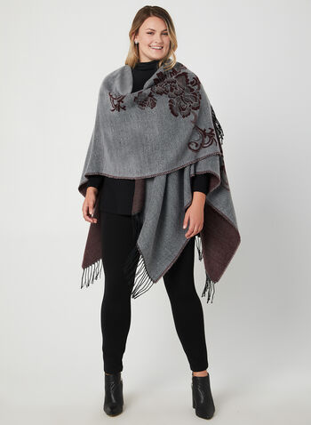 Floral Print Ruana, Grey, hi-res,  poncho, wrap, cover up, open front, fringe, fall 2019, winter 2019